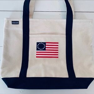 Lands' End Canvas Tote w American Flag